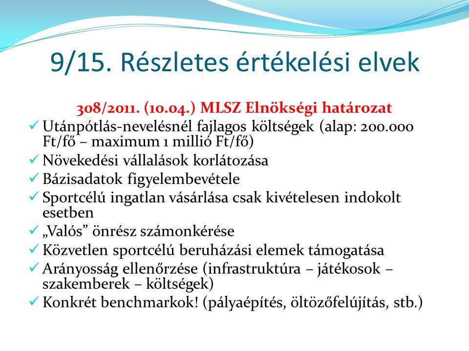 9/15. Részletes értékelési elvek 308/2011.