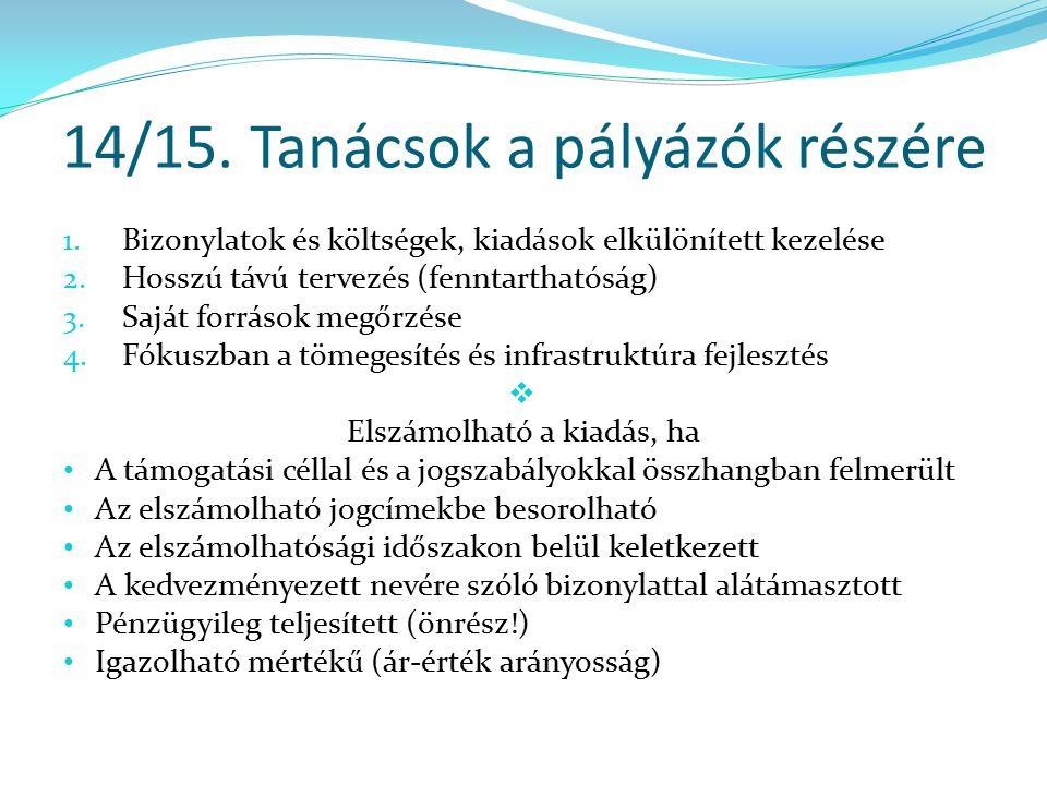14/15. Tanácsok a pályázók részére 1. Bizonylatok és költségek, kiadások elkülönített kezelése 2.