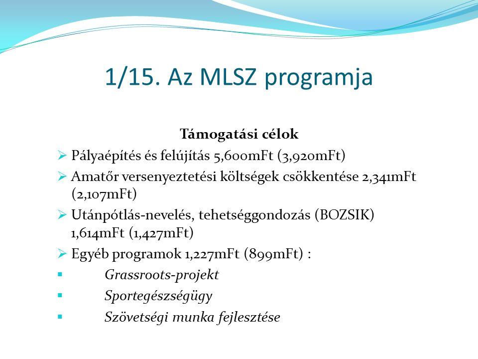 2/15.Az MLSZ program státusza 1. Az MLSZ elnökség jóváhagyja a programot (08.30.) 2.
