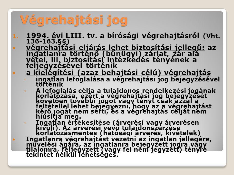 Végrehajtási jog 1. 1994. évi LIII. tv. a bírósági végrehajtásról (Vht.