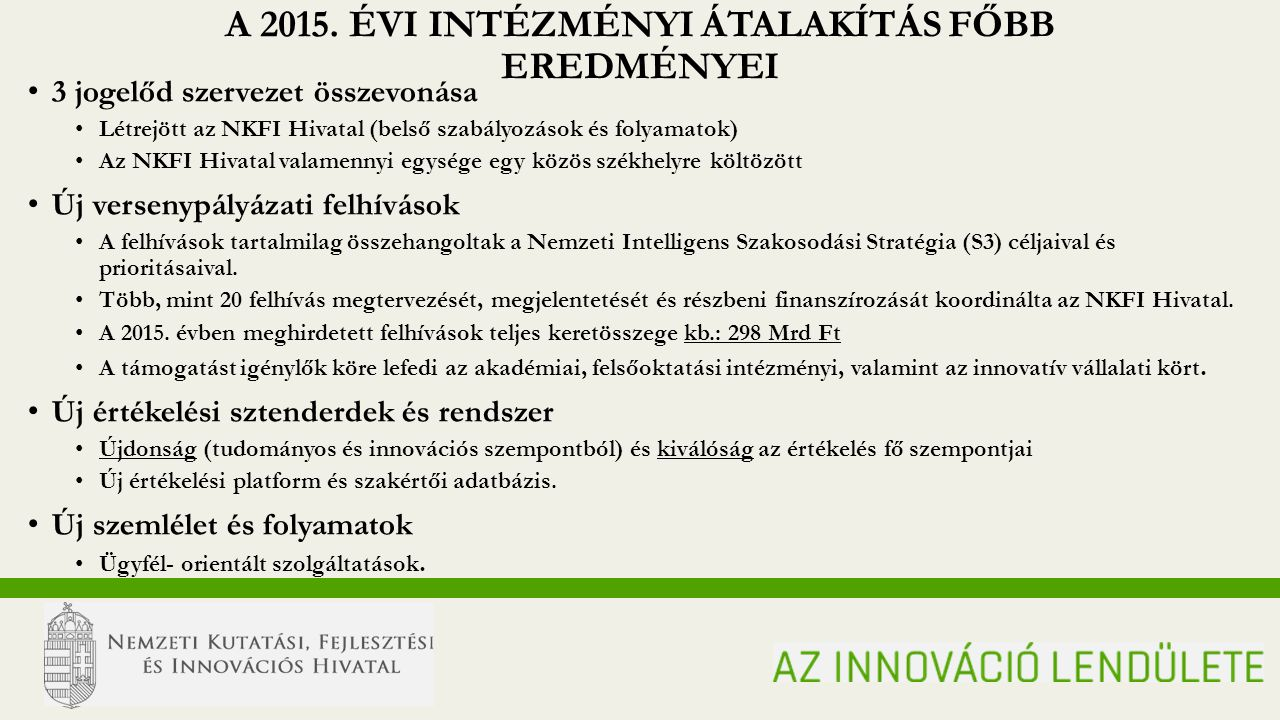 N ATIONAL R ESEARCH, D EVELOPMENT AND I NNOVATION O FFICE MOMENTUM OF INNOVATION A 2015.
