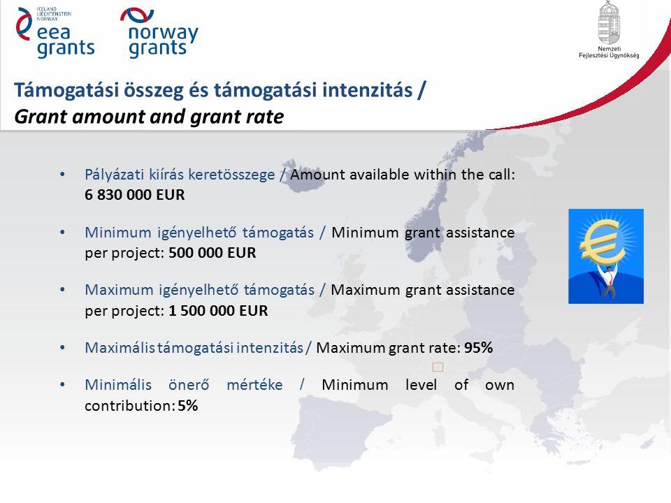 Támogatási összeg és támogatási intenzitás / Grant amount and grant rate Pályázati kiírás keretösszege / Amount available within the call: 6 830 000 EUR Minimum igényelhető támogatás / Minimum grant assistance per project: 500 000 EUR Maximum igényelhető támogatás / Maximum grant assistance per project: 1 500 000 EUR Maximális támogatási intenzitás / Maximum grant rate: 95% Minimális önerő mértéke / Minimum level of own contribution: 5%