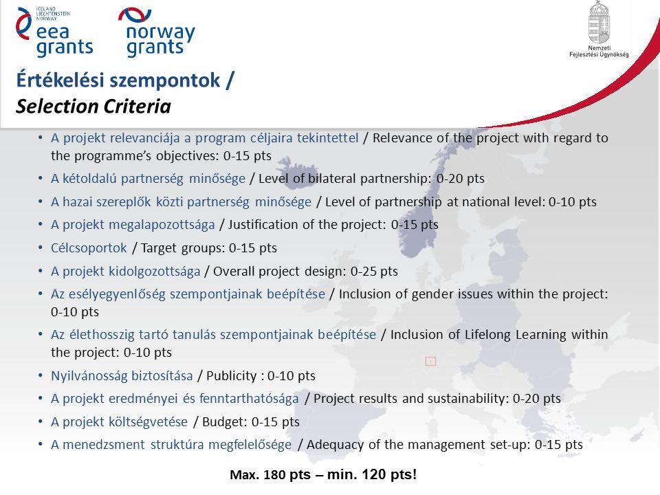 Értékelési szempontok / Selection Criteria A projekt relevanciája a program céljaira tekintettel / Relevance of the project with regard to the programme's objectives: 0-15 pts A kétoldalú partnerség minősége / Level of bilateral partnership: 0-20 pts A hazai szereplők közti partnerség minősége / Level of partnership at national level: 0-10 pts A projekt megalapozottsága / Justification of the project: 0-15 pts Célcsoportok / Target groups: 0-15 pts A projekt kidolgozottsága / Overall project design: 0-25 pts Az esélyegyenlőség szempontjainak beépítése / Inclusion of gender issues within the project: 0-10 pts Az élethosszig tartó tanulás szempontjainak beépítése / Inclusion of Lifelong Learning within the project: 0-10 pts Nyilvánosság biztosítása / Publicity : 0-10 pts A projekt eredményei és fenntarthatósága / Project results and sustainability: 0-20 pts A projekt költségvetése / Budget: 0-15 pts A menedzsment struktúra megfelelősége / Adequacy of the management set-up: 0-15 pts Max.