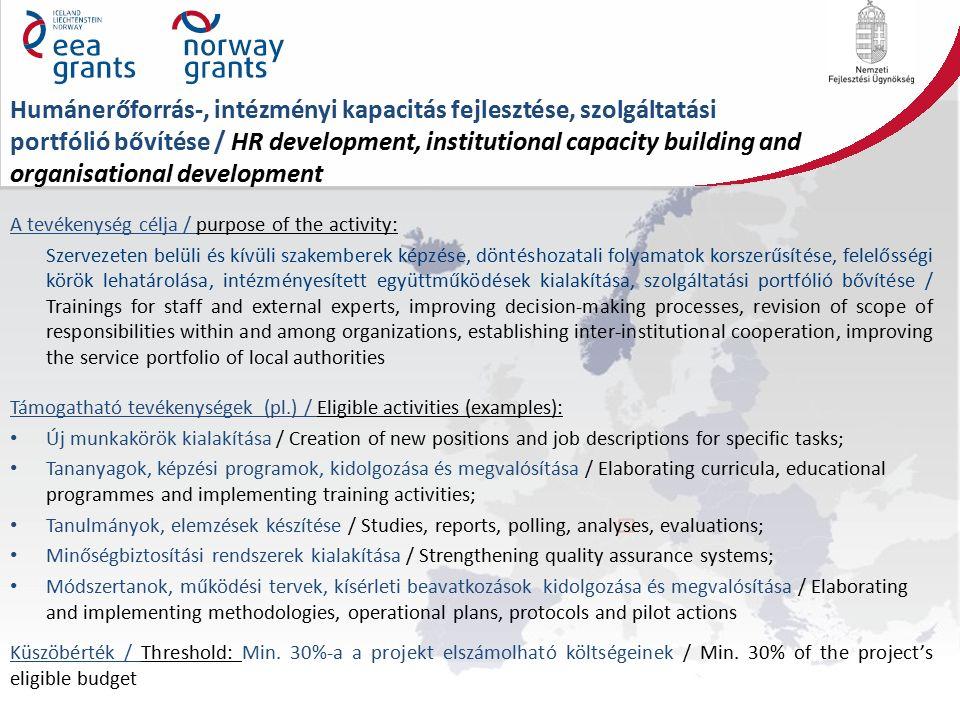 Humánerőforrás-, intézményi kapacitás fejlesztése, szolgáltatási portfólió bővítése / HR development, institutional capacity building and organisational development A tevékenység célja / purpose of the activity: Szervezeten belüli és kívüli szakemberek képzése, döntéshozatali folyamatok korszerűsítése, felelősségi körök lehatárolása, intézményesített együttműködések kialakítása, szolgáltatási portfólió bővítése / Trainings for staff and external experts, improving decision-making processes, revision of scope of responsibilities within and among organizations, establishing inter-institutional cooperation, improving the service portfolio of local authorities Támogatható tevékenységek (pl.) / Eligible activities (examples): Új munkakörök kialakítása / Creation of new positions and job descriptions for specific tasks; Tananyagok, képzési programok, kidolgozása és megvalósítása / Elaborating curricula, educational programmes and implementing training activities; Tanulmányok, elemzések készítése / Studies, reports, polling, analyses, evaluations; Minőségbiztosítási rendszerek kialakítása / Strengthening quality assurance systems; Módszertanok, működési tervek, kísérleti beavatkozások kidolgozása és megvalósítása / Elaborating and implementing methodologies, operational plans, protocols and pilot actions Küszöbérték / Threshold: Min.