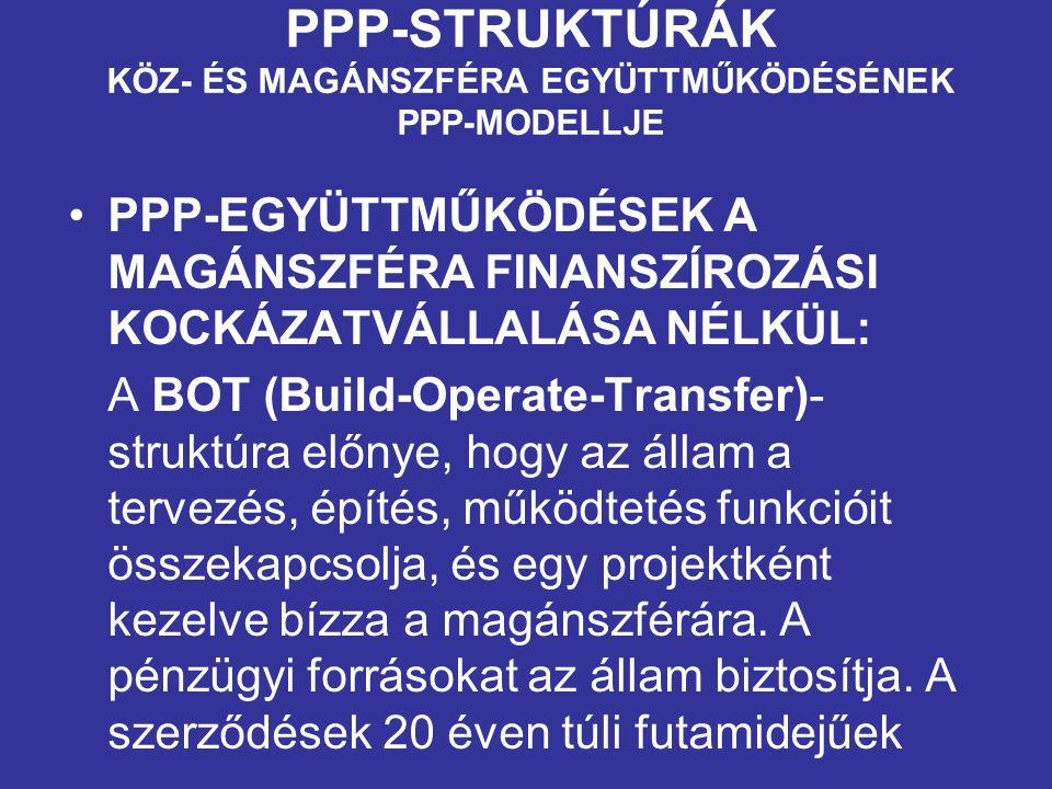 PPP-STRUKTÚRÁK KÖZ- ÉS MAGÁNSZFÉRA EGYÜTTMŰKÖDÉSÉNEK PPP-MODELLJE PPP-EGYÜTTMŰKÖDÉSEK A MAGÁNSZFÉRA FINANSZÍROZÁSI KOCKÁZATVÁLLALÁSA NÉLKÜL: A BOT (Build-Operate-Transfer)- struktúra előnye, hogy az állam a tervezés, építés, működtetés funkcióit összekapcsolja, és egy projektként kezelve bízza a magánszférára.