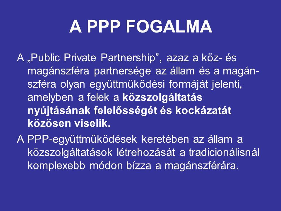 A PPP FOGALMA A hagyományos modellben az állam elkülönülten kezeli a közszolgáltatáshoz kötődő részfeladatokat, azaz a közszolgáltatás infrastruktúrájának megépítését és üzemeltetését.