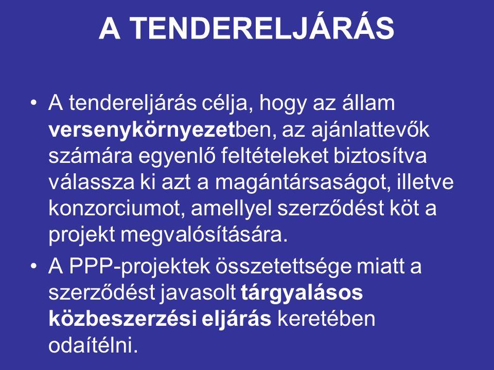 A TENDERELJÁRÁS A tendereljárás célja, hogy az állam versenykörnyezetben, az ajánlattevők számára egyenlő feltételeket biztosítva válassza ki azt a magántársaságot, illetve konzorciumot, amellyel szerződést köt a projekt megvalósítására.