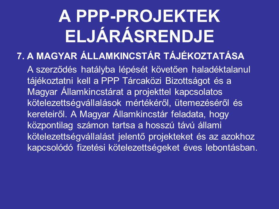 A PPP-PROJEKTEK ELJÁRÁSRENDJE 7. A MAGYAR ÁLLAMKINCSTÁR TÁJÉKOZTATÁSA A szerződés hatályba lépését követően haladéktalanul tájékoztatni kell a PPP Tár