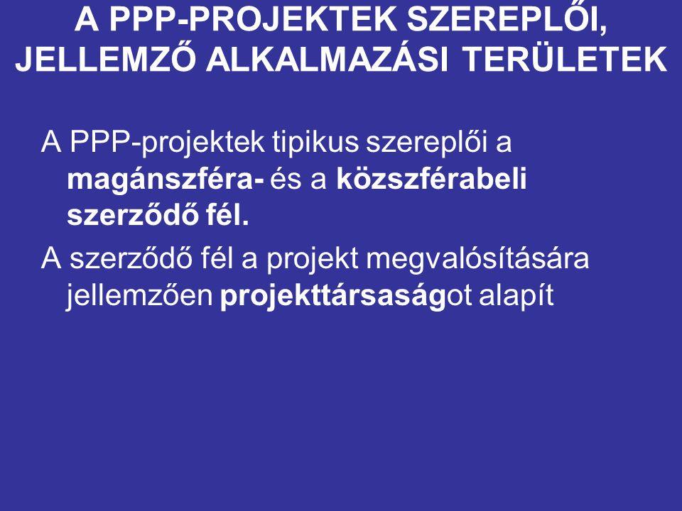 A PPP-PROJEKTEK SZEREPLŐI, JELLEMZŐ ALKALMAZÁSI TERÜLETEK A PPP-projektek tipikus szereplői a magánszféra- és a közszférabeli szerződő fél.