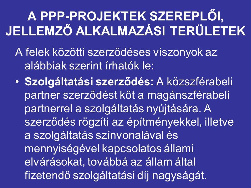 A PPP-PROJEKTEK SZEREPLŐI, JELLEMZŐ ALKALMAZÁSI TERÜLETEK A felek közötti szerződéses viszonyok az alábbiak szerint írhatók le: Szolgáltatási szerződés: A közszférabeli partner szerződést köt a magánszférabeli partnerrel a szolgáltatás nyújtására.
