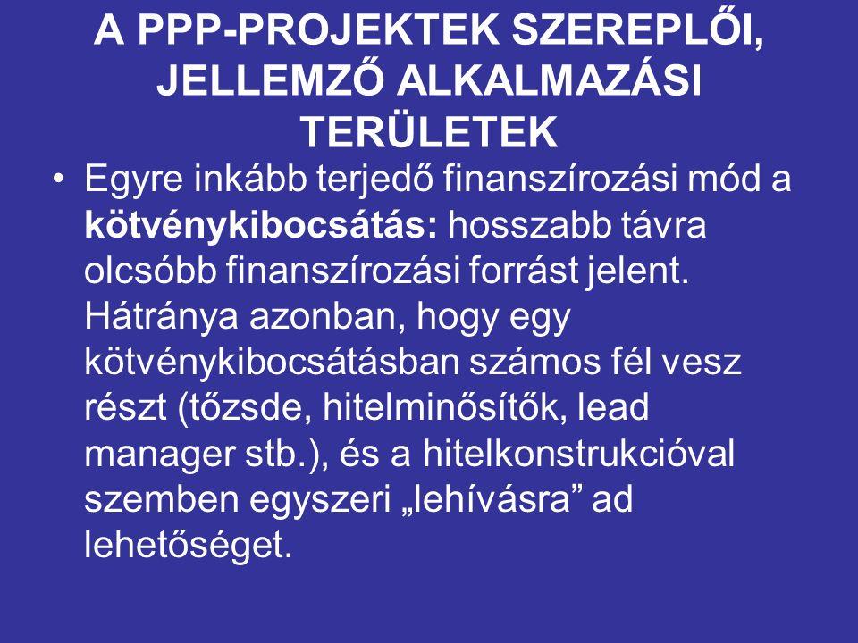 A PPP-PROJEKTEK SZEREPLŐI, JELLEMZŐ ALKALMAZÁSI TERÜLETEK Tervezési, építési és működtetési szerződések A PPP-struktúra alkalmazásának leggyakoribb területei a következők: –közúti infrastruktúra (utak, hidak, alagutak), –vasúti infrastruktúra (városi, elővárosi és távolsági vonalak), –közmű- és környezetvédelmi beruházások (csatornázás, szennyvíztisztítás), –stadionok, sportcsarnokok, egyéb sportlétesítmények, –kormányzati ingatlan infrastruktúrafejlesztés (minisztériumi és egyéb hivatali épületek), –büntetés-végrehajtási intézetekhez, javító-, nevelőintézetekhez kapcsolódó beruházások, –honvédelmi beruházások (kiképző és logisztikai központok, repülőterek), –egészségügyi beruházások (kórházak, rendelőintézetek), –közoktatási, kulturális beruházások (iskolák, kollégiumok, múzeumok, kongresszusi központok).
