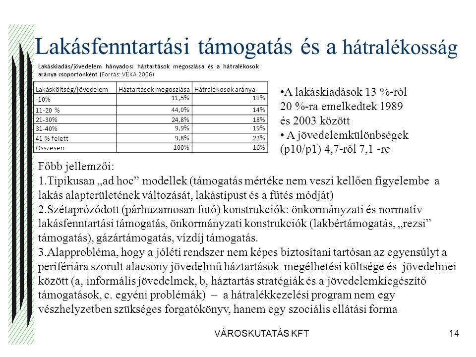 """Lakásfenntartási támogatás és a hátralékosság VÁROSKUTATÁS KFT14 Lakásköltség/jövedelemHáztartások megoszlásaHátralékosok aránya -10% 11,5%11% 11-20 % 44,0%14% 21-30% 24,8%18% 31-40% 9,9%19% 41 % felett 9,8%23% Összesen 100%16% Lak á skiad á s/j ö vedelem h á nyados: h á ztart á sok megoszl á sa é s a h á tral é kosok ar á nya csoportonk é nt (Forr á s: V É KA 2006) A lakáskiadások 13 %-ról 20 %-ra emelkedtek 1989 és 2003 között A jövedelemkülönbségek (p10/p1) 4,7-ről 7,1 -re Főbb jellemzői: 1.Tipikusan """"ad hoc modellek (támogatás mértéke nem veszi kellően figyelembe a lakás alapterületének változását, lakástípust és a fűtés módját) 2.Szétaprózódott (párhuzamosan futó) konstrukciók: önkormányzati és normatív lakásfenntartási támogatás, önkormányzati konstrukciók (lakbértámogatás, """"rezsi támogatás), gázártámogatás, vízdíj támogatás."""