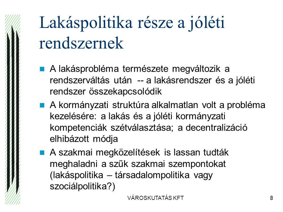 Lakáshelyzet mutatói (VEKE, 2007) VÁROSKUTATÁS KFT19