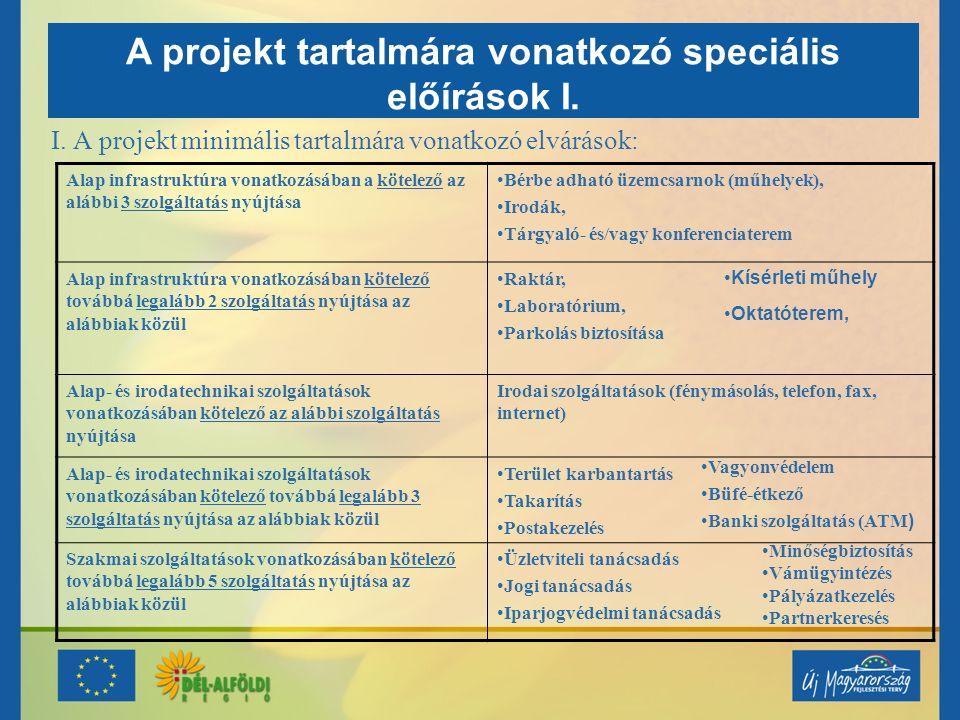 A projekt tartalmára vonatkozó speciális előírások I.