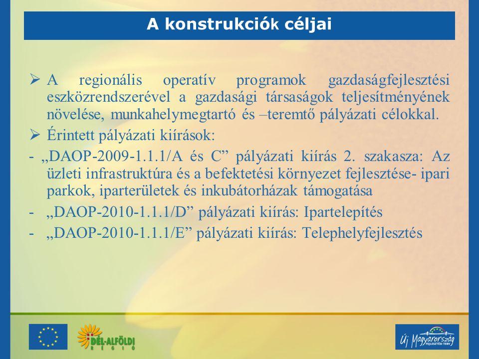 Rendelkezésre álló forrás KiírásIpari Parkok és iparterületek InkubátorházakÖsszforrás DAOP-2009- 1.1.1/A és C 2.149.394.087989.448.2833.138.842.370 DAOP-2010- 1.1.1/D 2.787.000.000 DAOP-2010- 1.1.1/E 2.000.000.000 Összesen7.925.842.370