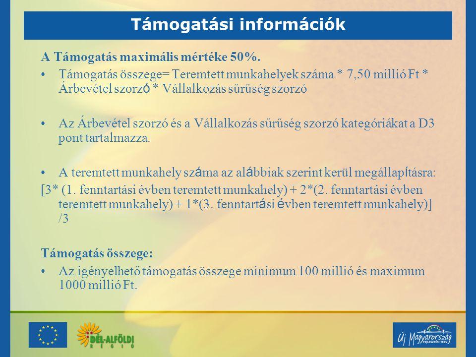 Támogatási információk A Támogatás maximális mértéke 50%.