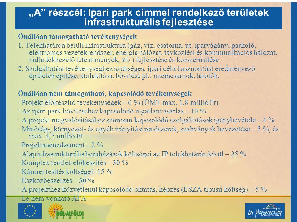 """Speciális előírások Az """"A pályázati cél esetén ipari park fejlesztésére irányuló pályázatot csak az """"Ipari Park cím birtokosa vagy működtetője nyújthat be."""