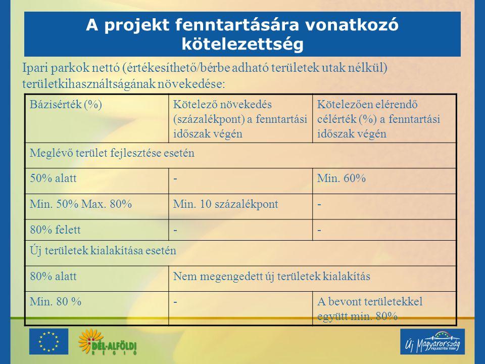 A projekt fenntartására vonatkozó kötelezettség Ipari parkok nettó (értékesíthető/bérbe adható területek utak nélkül) területkihasználtságának növeked