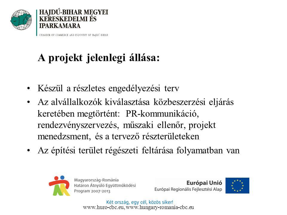 A projekt jelenlegi állása: Készül a részletes engedélyezési terv Az alvállalkozók kiválasztása közbeszerzési eljárás keretében megtörtént: PR-kommunikáció, rendezvényszervezés, műszaki ellenőr, projekt menedzsment, és a tervező részterületeken Az építési terület régészeti feltárása folyamatban van www.huro-cbc.eu, www.hungary-romania-cbc.eu