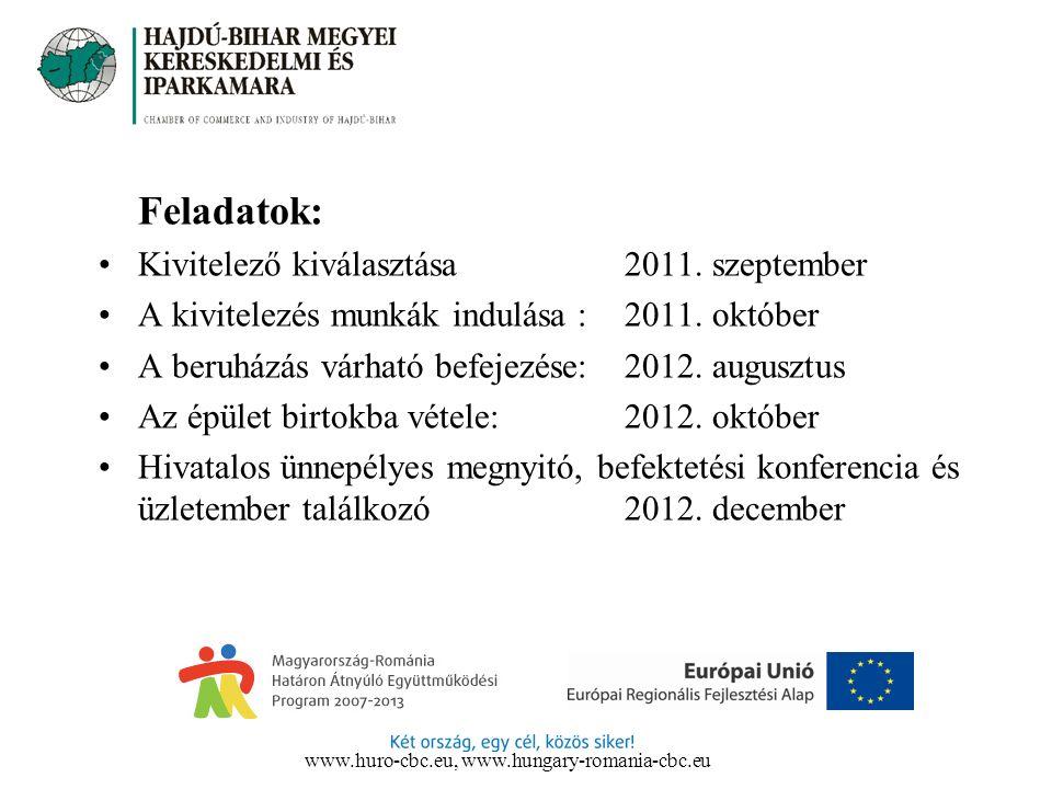 Feladatok: Kivitelező kiválasztása 2011. szeptember A kivitelezés munkák indulása : 2011.
