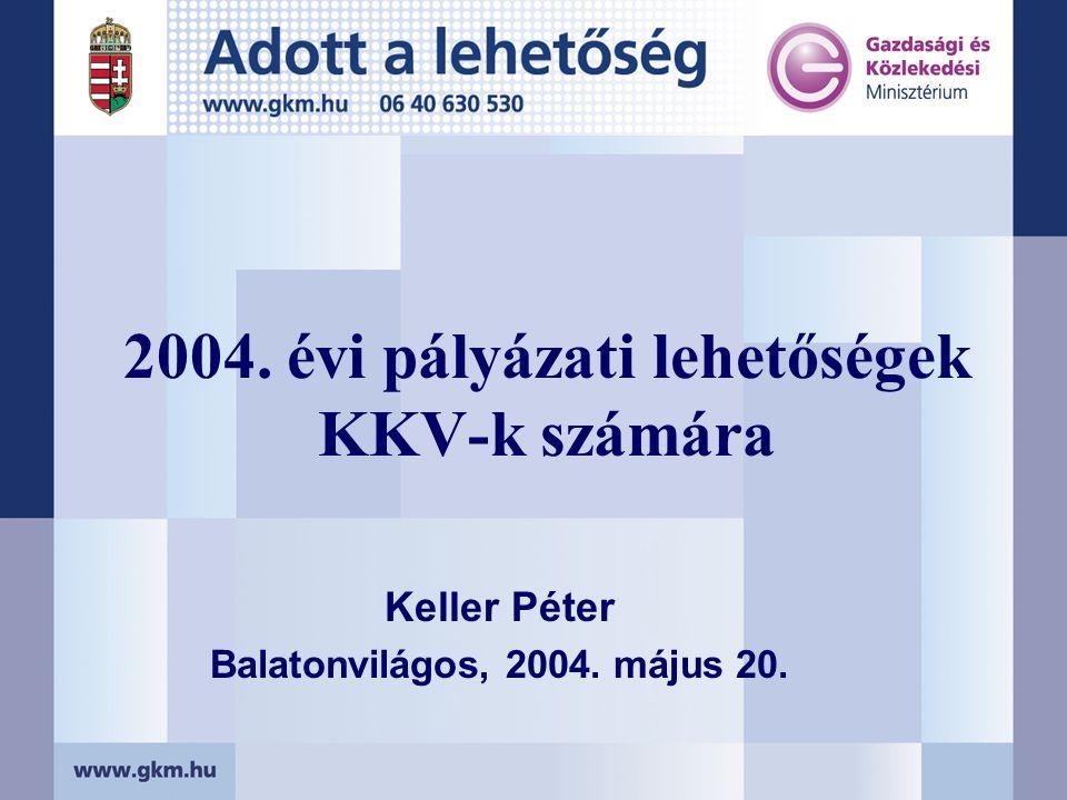 2004. évi pályázati lehetőségek KKV-k számára Keller Péter Balatonvilágos, 2004. május 20.