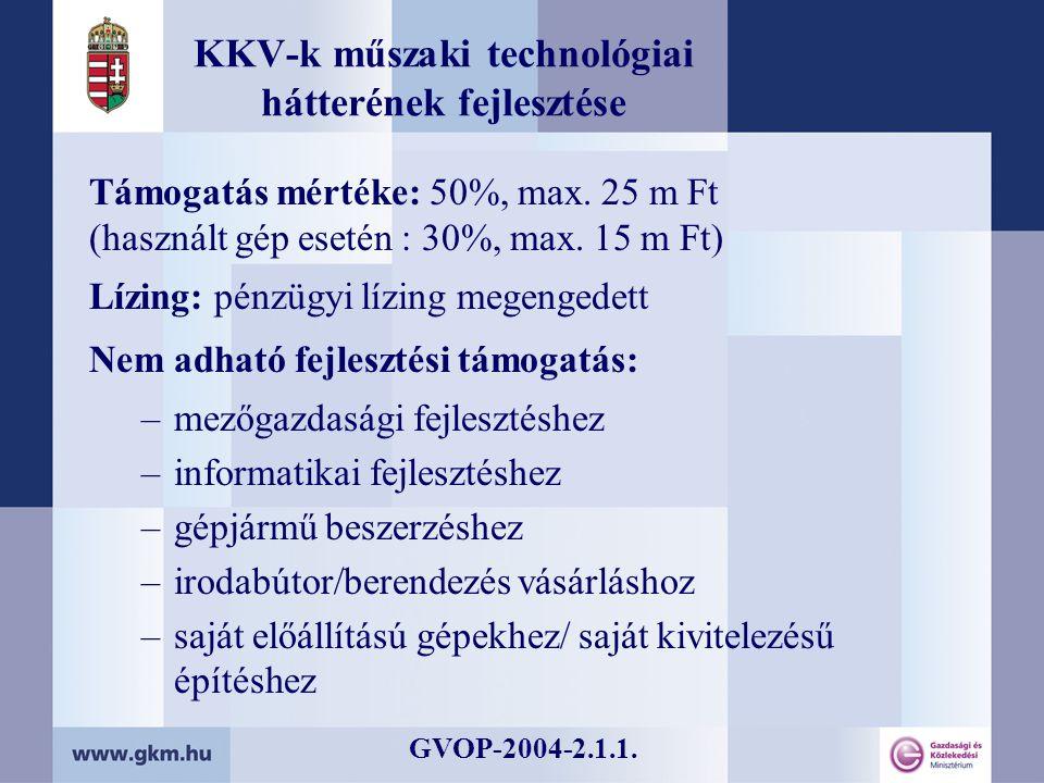 KKV-k műszaki technológiai hátterének fejlesztése Támogatás mértéke: 50%, max.