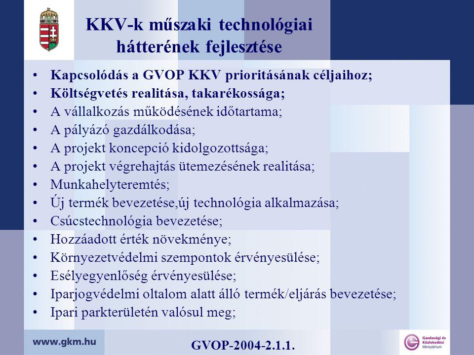 KKV-k műszaki technológiai hátterének fejlesztése Kapcsolódás a GVOP KKV prioritásának céljaihoz; Költségvetés realitása, takarékossága; A vállalkozás működésének időtartama; A pályázó gazdálkodása; A projekt koncepció kidolgozottsága; A projekt végrehajtás ütemezésének realitása; Munkahelyteremtés; Új termék bevezetése,új technológia alkalmazása; Csúcstechnológia bevezetése; Hozzáadott érték növekménye; Környezetvédelmi szempontok érvényesülése; Esélyegyenlőség érvényesülése; Iparjogvédelmi oltalom alatt álló termék/eljárás bevezetése; Ipari parkterületén valósul meg; GVOP-2004-2.1.1.