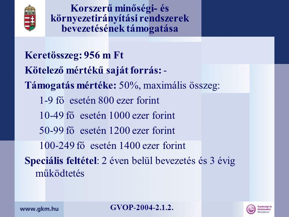Korszerű minőségi- és környezetirányítási rendszerek bevezetésének támogatása Keretösszeg: 956 m Ft Kötelező mértékű saját forrás: - Támogatás mértéke: 50%, maximális összeg: 1-9 fő esetén 800 ezer forint 10-49 fő esetén 1000 ezer forint 50-99 fő esetén 1200 ezer forint 100-249 fő esetén 1400 ezer forint Speciális feltétel: 2 éven belül bevezetés és 3 évig működtetés GVOP-2004-2.1.2.