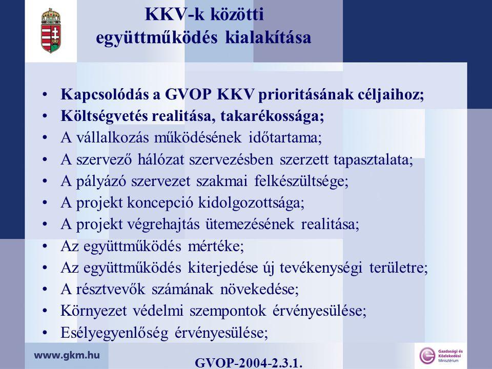KKV-k közötti együttműködés kialakítása Kapcsolódás a GVOP KKV prioritásának céljaihoz; Költségvetés realitása, takarékossága; A vállalkozás működésének időtartama; A szervező hálózat szervezésben szerzett tapasztalata; A pályázó szervezet szakmai felkészültsége; A projekt koncepció kidolgozottsága; A projekt végrehajtás ütemezésének realitása; Az együttműködés mértéke; Az együttműködés kiterjedése új tevékenységi területre; A résztvevők számának növekedése; Környezet védelmi szempontok érvényesülése; Esélyegyenlőség érvényesülése; GVOP-2004-2.3.1.