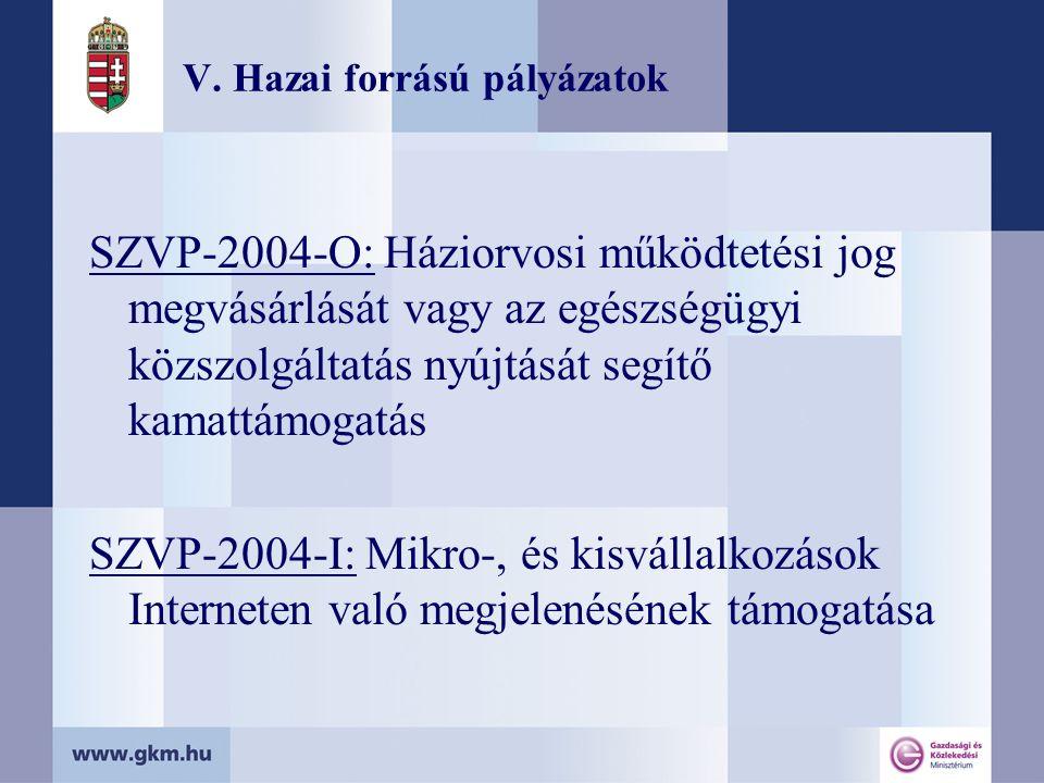 V. Hazai forrású pályázatok SZVP-2004-O: Háziorvosi működtetési jog megvásárlását vagy az egészségügyi közszolgáltatás nyújtását segítő kamattámogatás