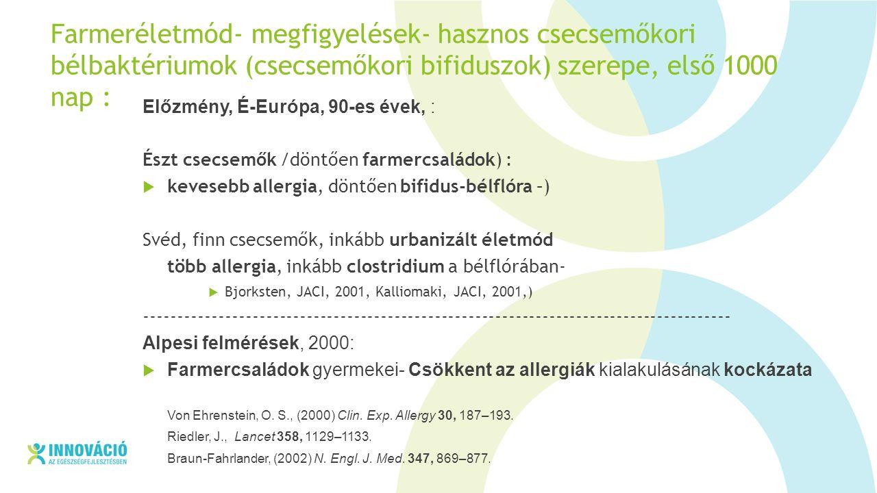 Farmeréletmód- megfigyelések- hasznos csecsemőkori bélbaktériumok (csecsemőkori bifiduszok) szerepe, első 1000 nap : Előzmény, É-Európa, 90-es évek, : Észt csecsemők /döntően farmercsaládok) :  kevesebb allergia, döntően bifidus-bélflóra –) Svéd, finn csecsemők, inkább urbanizált életmód több allergia, inkább clostridium a bélflórában-  Bjorksten, JACI, 2001, Kalliomaki, JACI, 2001,) --------------------------------------------------------------------------------------- Alpesi felmérések, 2000:  Farmercsaládok gyermekei- Csökkent az allergiák kialakulásának kockázata Von Ehrenstein, O.