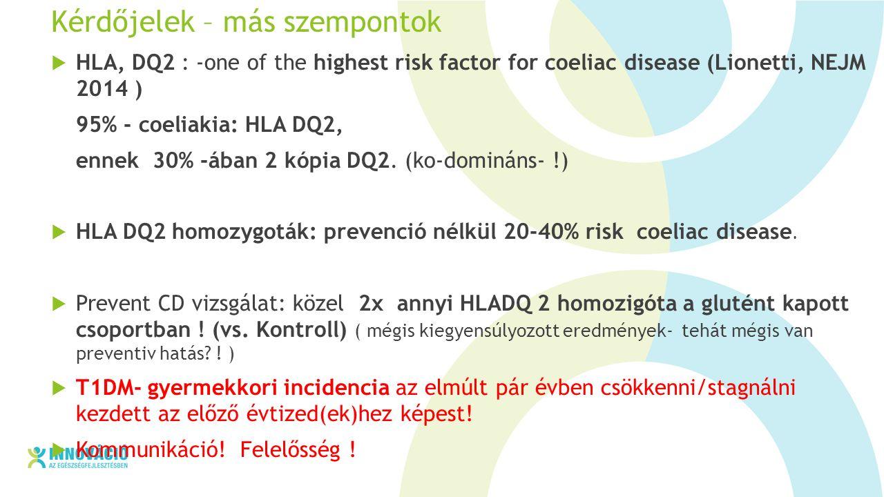 Kérdőjelek – más szempontok  HLA, DQ2 : -one of the highest risk factor for coeliac disease (Lionetti, NEJM 2014 ) 95% - coeliakia: HLA DQ2, ennek 30% -ában 2 kópia DQ2.