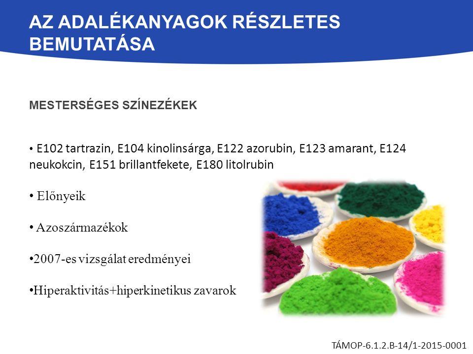 AZ ADALÉKANYAGOK RÉSZLETES BEMUTATÁSA MESTERSÉGES SZÍNEZÉKEK E102 tartrazin, E104 kinolinsárga, E122 azorubin, E123 amarant, E124 neukokcin, E151 bril