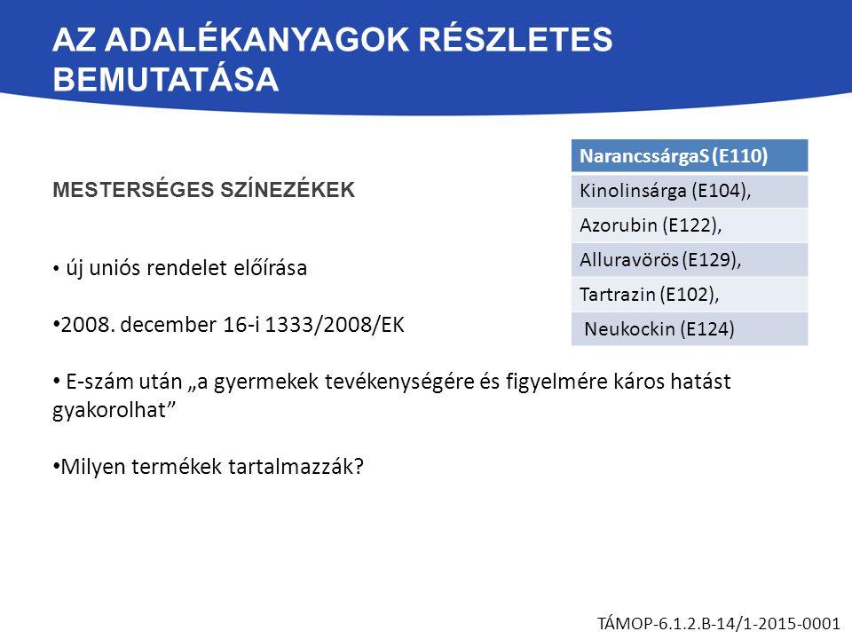 """AZ ADALÉKANYAGOK RÉSZLETES BEMUTATÁSA MESTERSÉGES SZÍNEZÉKEK új uniós rendelet előírása 2008. december 16-i 1333/2008/EK E-szám után """"a gyermekek tevé"""