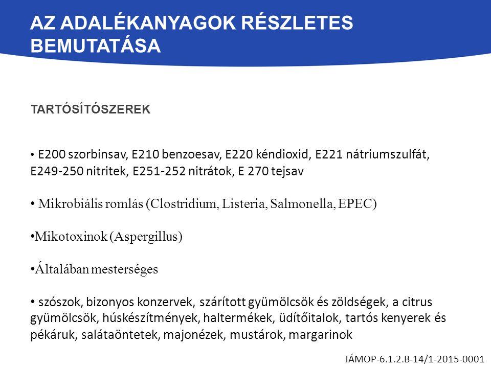 AZ ADALÉKANYAGOK RÉSZLETES BEMUTATÁSA TARTÓSÍTÓSZEREK E200 szorbinsav, E210 benzoesav, E220 kéndioxid, E221 nátriumszulfát, E249-250 nitritek, E251-252 nitrátok, E 270 tejsav Mikrobiális romlás (Clostridium, Listeria, Salmonella, EPEC) Mikotoxinok (Aspergillus) Általában mesterséges szószok, bizonyos konzervek, szárított gyümölcsök és zöldségek, a citrus gyümölcsök, húskészítmények, haltermékek, üdítőitalok, tartós kenyerek és pékáruk, salátaöntetek, majonézek, mustárok, margarinok TÁMOP-6.1.2.B-14/1-2015-0001