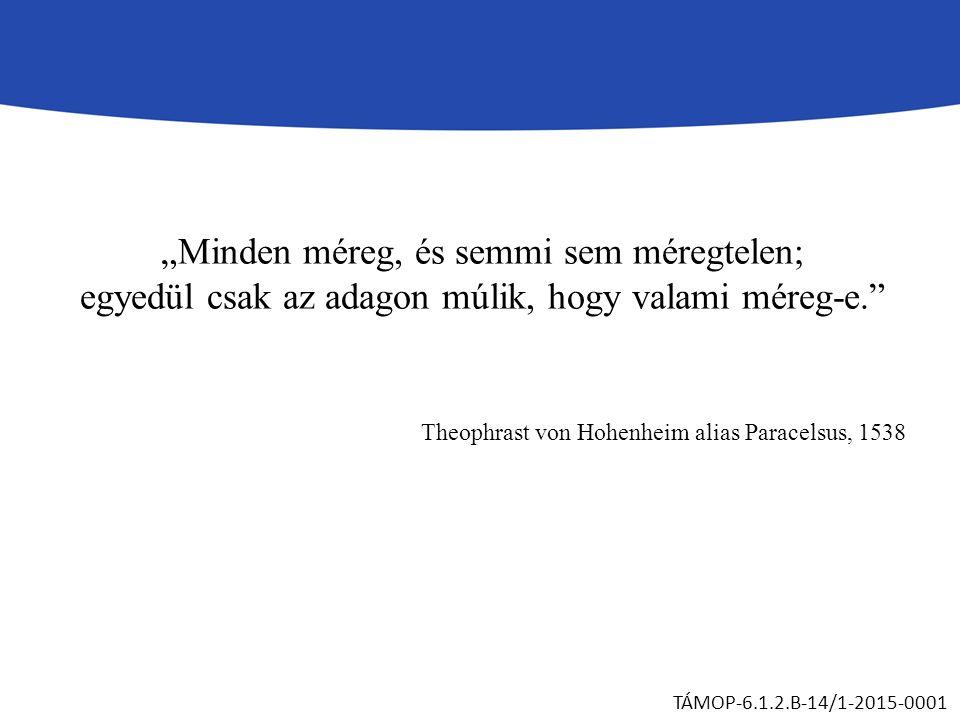 """""""Minden méreg, és semmi sem méregtelen; egyedül csak az adagon múlik, hogy valami méreg-e. Theophrast von Hohenheim alias Paracelsus, 1538 TÁMOP-6.1.2.B-14/1-2015-0001"""