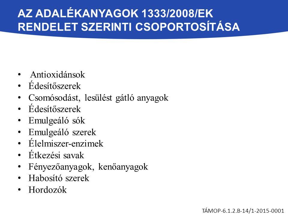 AZ ADALÉKANYAGOK 1333/2008/EK RENDELET SZERINTI CSOPORTOSÍTÁSA Hajtógázok és csomagológázok Habzásgátlók Ízfokozók Kelátképző-anyagok Lisztjavító, lisztkezelő szerek Módosított keményítők Nedvesítő szerek Savanyúságot szabályozó anyagok Stabilizátorok Sűrítő anyagok Szilárdító anyagok Színezékek Tartósítószerek Térfogatnövelő-szerek Zselésítő anyagok Tömegnövelő szerek TÁMOP-6.1.2.B-14/1-2015-0001