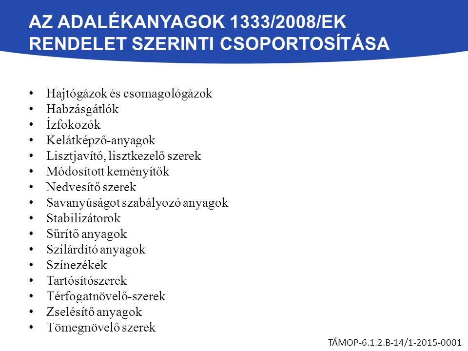 AZ ADALÉKANYAGOK 1333/2008/EK RENDELET SZERINTI CSOPORTOSÍTÁSA Hajtógázok és csomagológázok Habzásgátlók Ízfokozók Kelátképző-anyagok Lisztjavító, lis