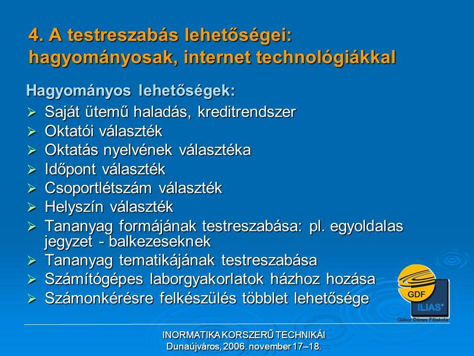 INORMATIKA KORSZERŰ TECHNIKÁI Dunaújváros, 2006.november 17–18.