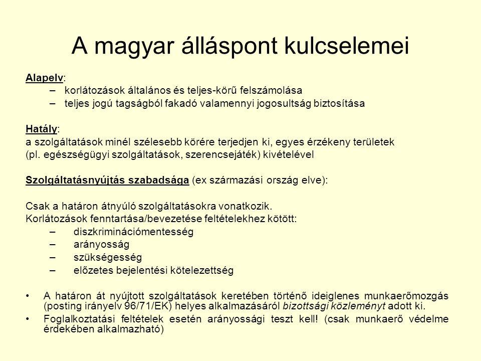 A magyar álláspont kulcselemei Alapelv: –korlátozások általános és teljes-körű felszámolása –teljes jogú tagságból fakadó valamennyi jogosultság biztosítása Hatály: a szolgáltatások minél szélesebb körére terjedjen ki, egyes érzékeny területek (pl.