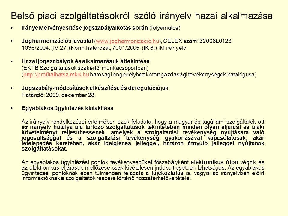 Irányelv érvényesítése jogszabályalkotás során (folyamatos) Jogharmonizációs javaslat (www.jogharmonizacio.hu), CELEX szám: 32006L0123www.jogharmonizacio.hu 1036/2004.