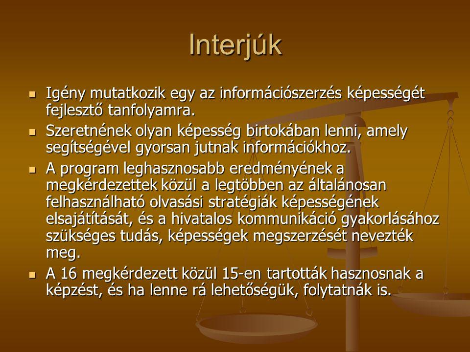 Interjúk Igény mutatkozik egy az információszerzés képességét fejlesztő tanfolyamra. Igény mutatkozik egy az információszerzés képességét fejlesztő ta
