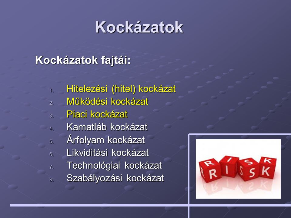 Kockázatok Kockázatok fajtái: 1. Hitelezési (hitel) kockázat 2. Működési kockázat 3. Piaci kockázat 4. Kamatláb kockázat 5. Árfolyam kockázat 6. Likvi