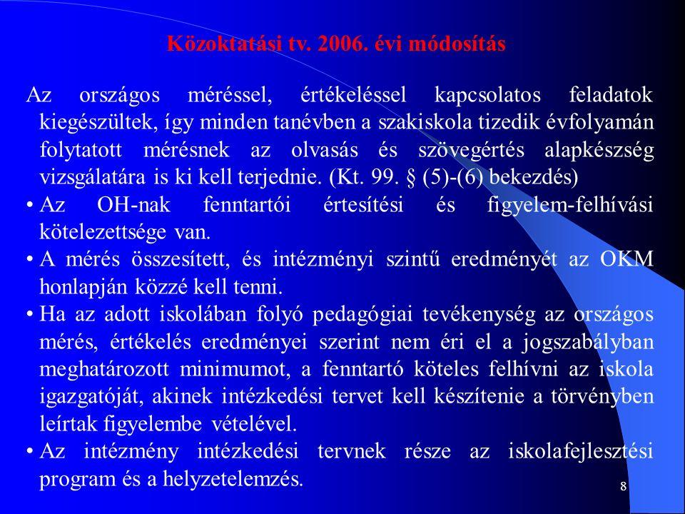 9 2007.évi kt. módosítás A tanuló fejlődésének nyomon követése, és a longitudinális elemzés (tv.