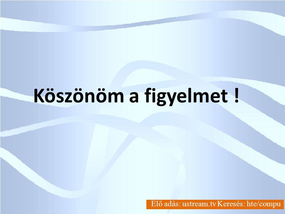 COMPU-CONSULT Ltd. Élő adás: ustream.tv Keresés: hte/compu Köszönöm a figyelmet !