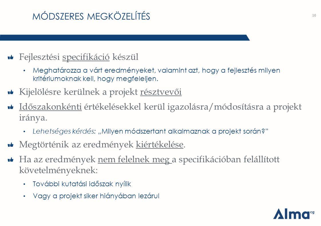 MÓDSZERES MEGKÖZELÍTÉS Fejlesztési specifikáció készül Meghatározza a várt eredményeket, valamint azt, hogy a fejlesztés milyen kritériumoknak kell, h