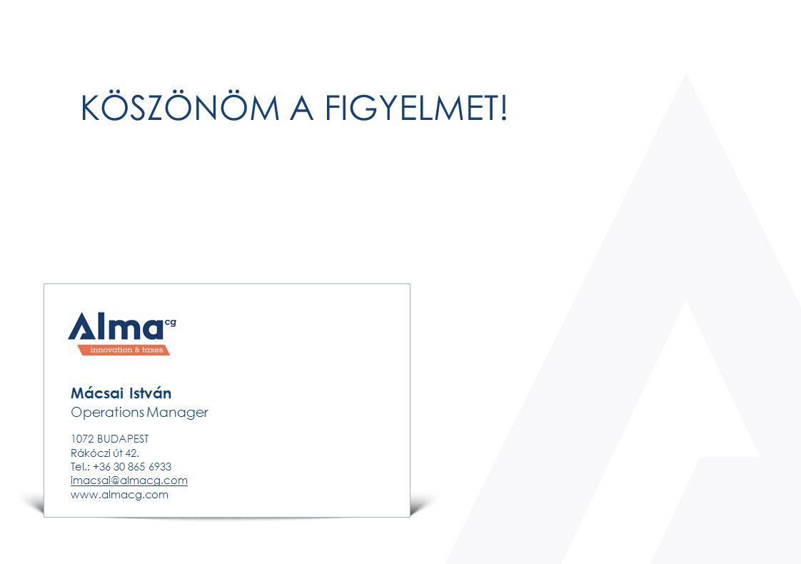 Mácsai István Operations Manager 1072 BUDAPEST Rákóczi út 42. Tel.: +36 30 865 6933 imacsai@almacg.com www.almacg.com KÖSZÖNÖM A FIGYELMET!