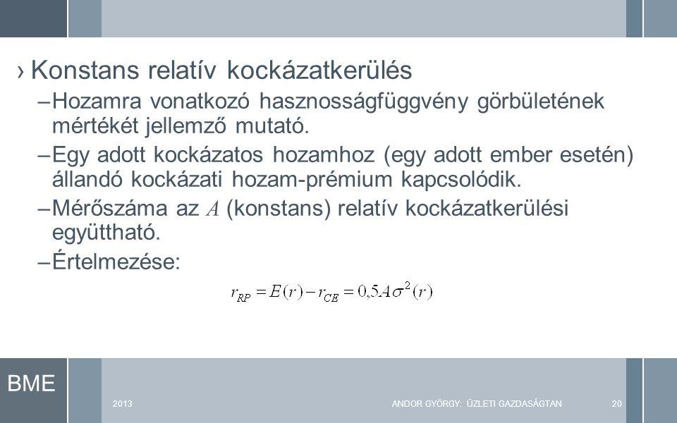 BME 2013ANDOR GYÖRGY: ÜZLETI GAZDASÁGTAN20 ›Konstans relatív kockázatkerülés –Hozamra vonatkozó hasznosságfüggvény görbületének mértékét jellemző mutató.