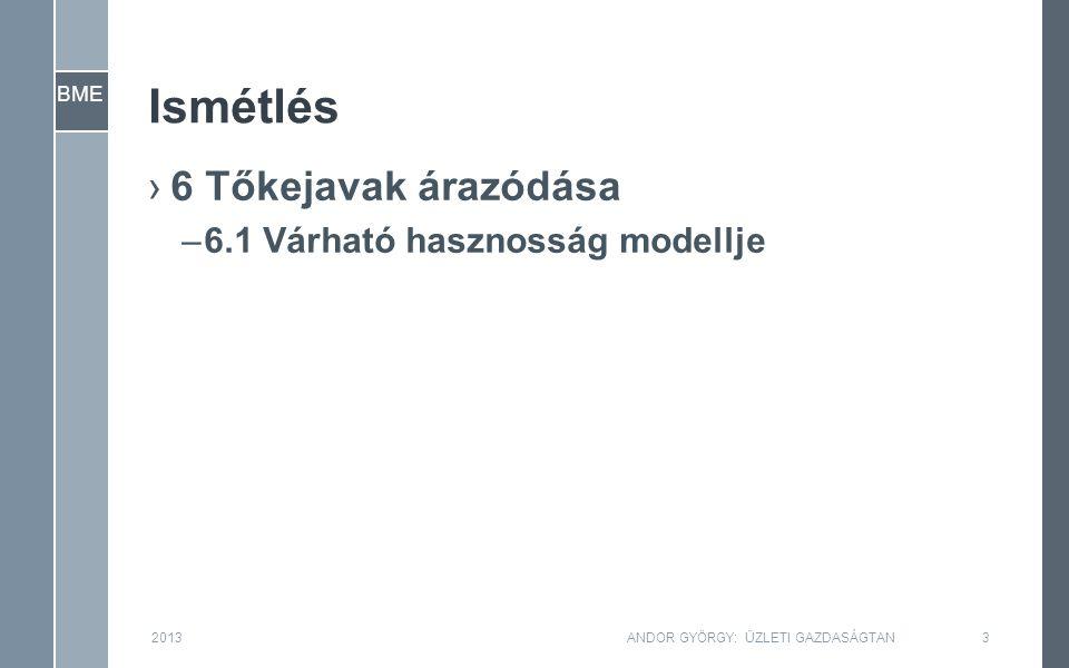 BME Ismétlés ›6 Tőkejavak árazódása –6.1 Várható hasznosság modellje 2013ANDOR GYÖRGY: ÜZLETI GAZDASÁGTAN3