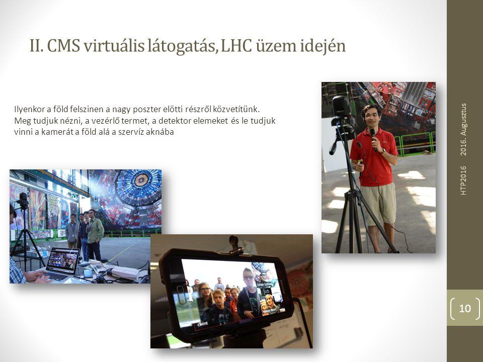 II. CMS virtuális látogatás, LHC üzem idején 2016. Augusztus HTP2016 10 Ilyenkor a föld felszinen a nagy poszter elötti részről közvetítünk. Meg tudju